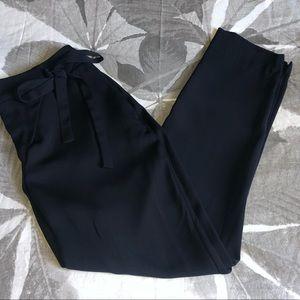 Zara Navy Blue Trousers with Twist Tie